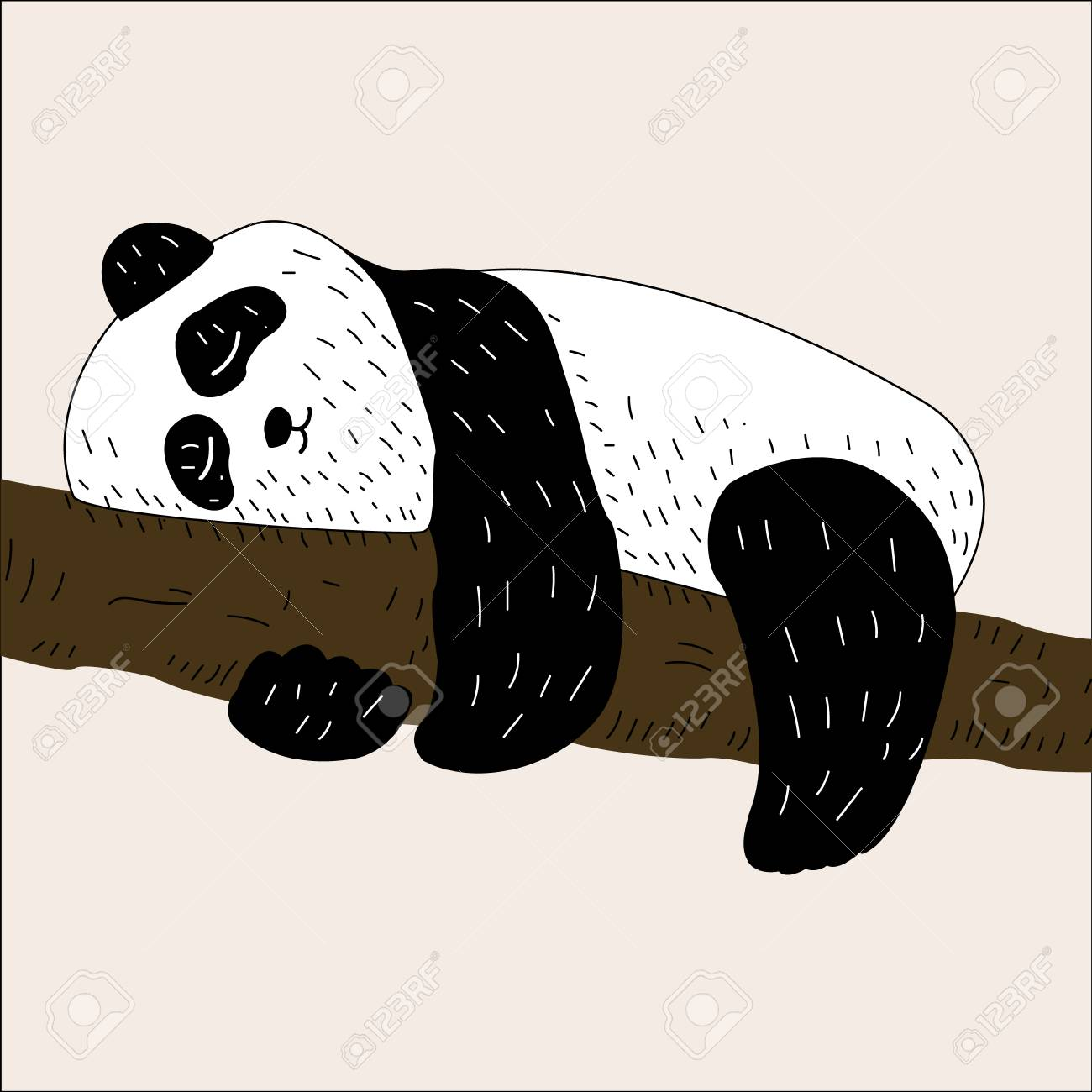 Vector Illustration Of Cute Baby Panda Tree Climbing Bamboo Royalty