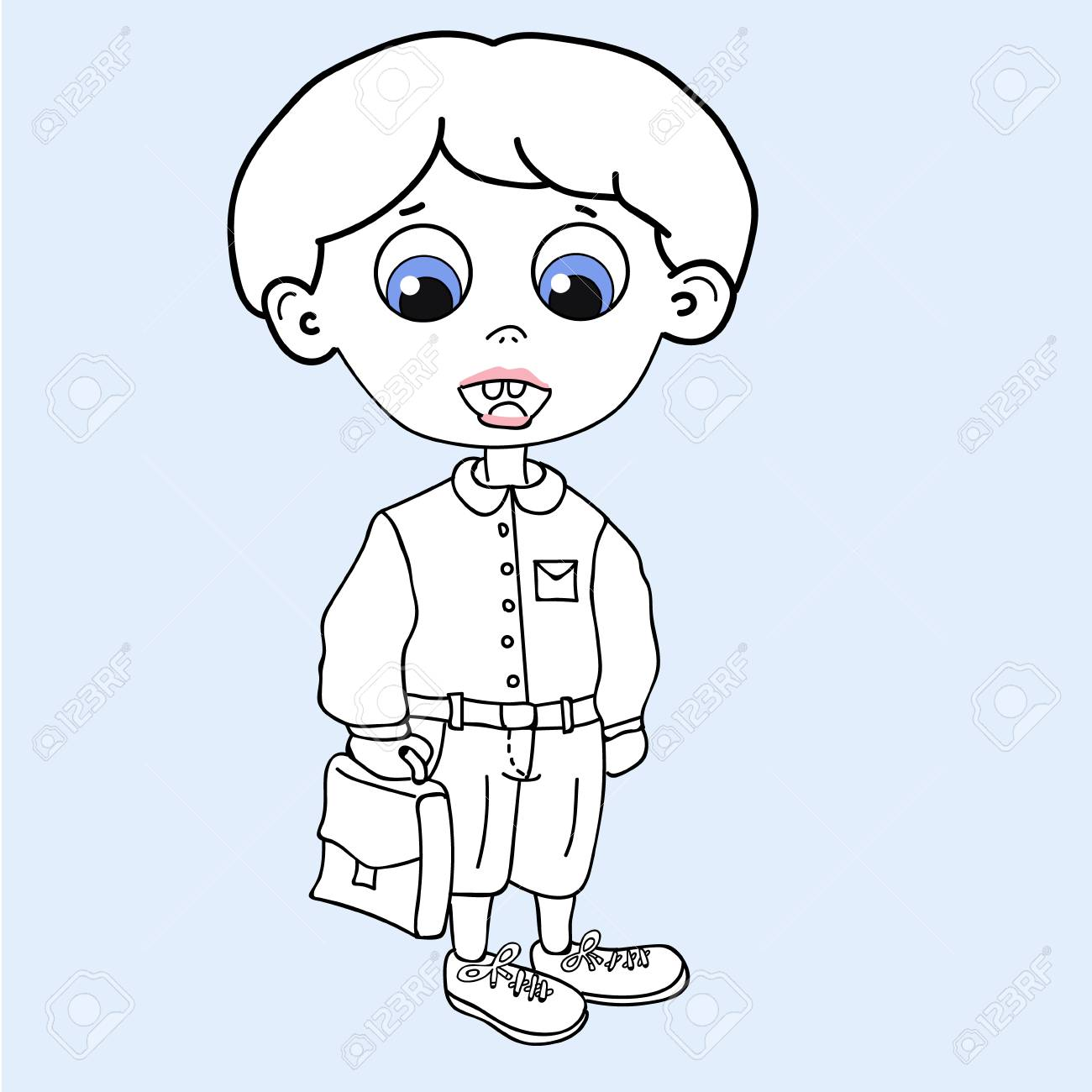 vector cartoon funny little boy isolated on white background