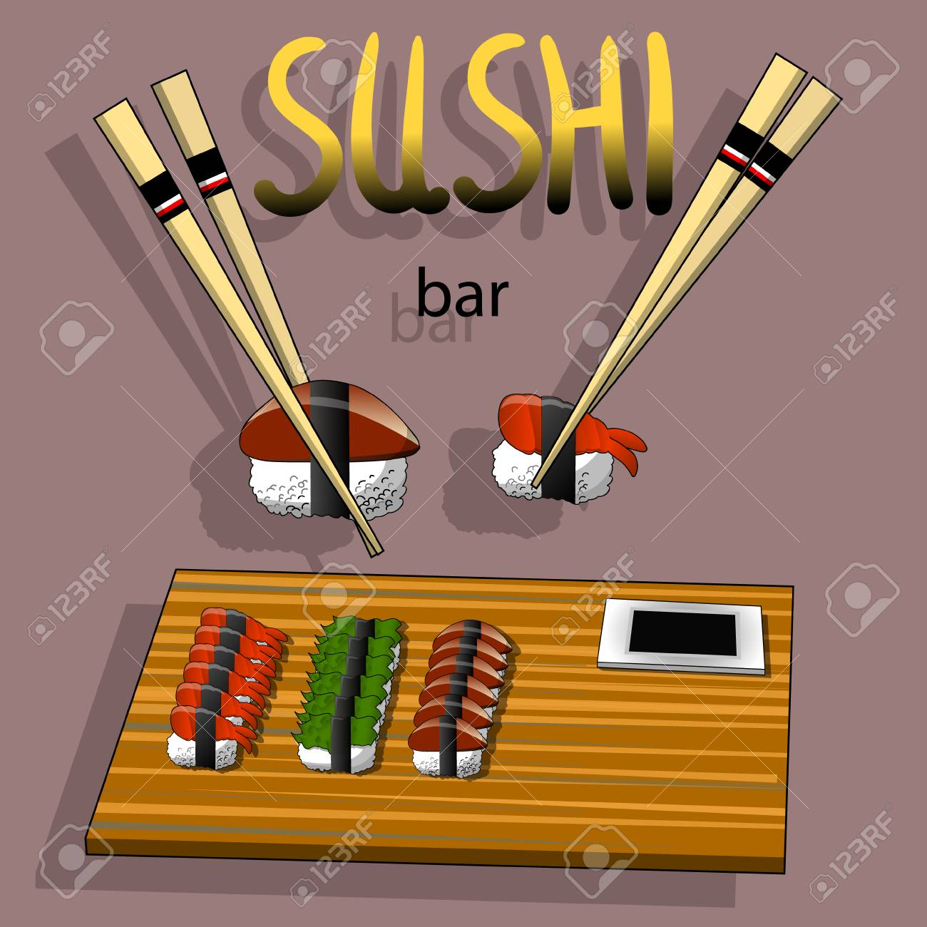 Concept Design Of The Invitation Sushi Restaurant Vector Illustration Royalty Free Cliparts Vectors And Stock Illustration Image 102059894
