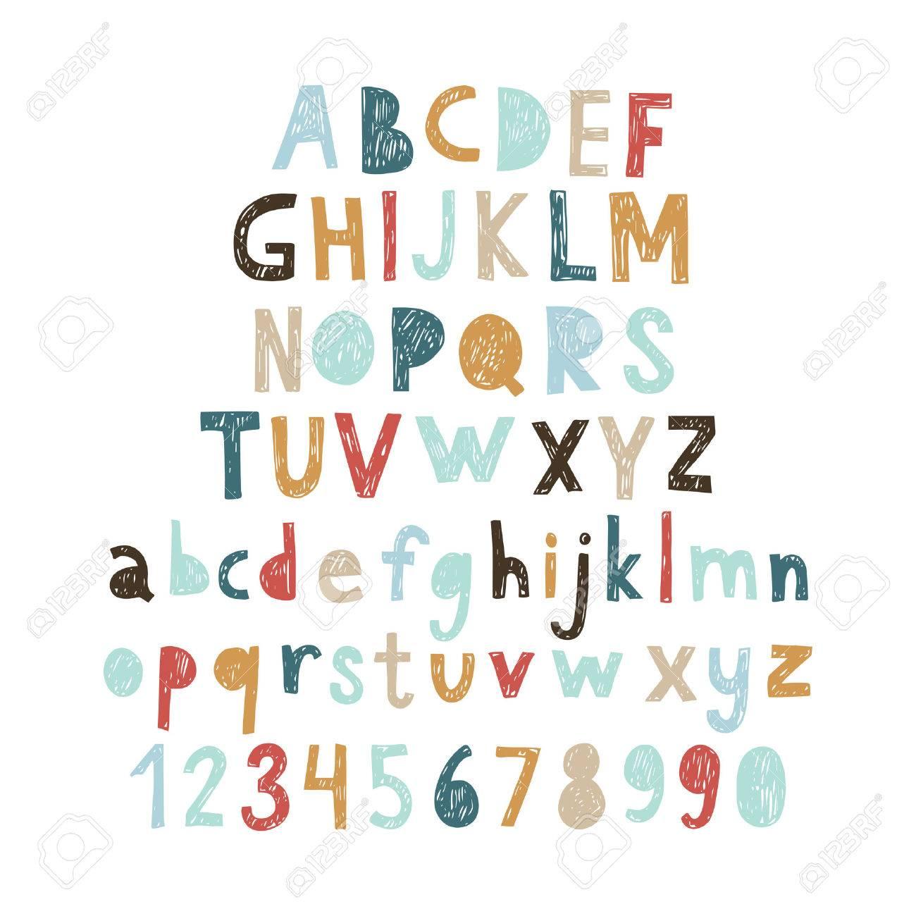 Hand drawn doodle abc, cut out font. Vector illustration. - 53038980