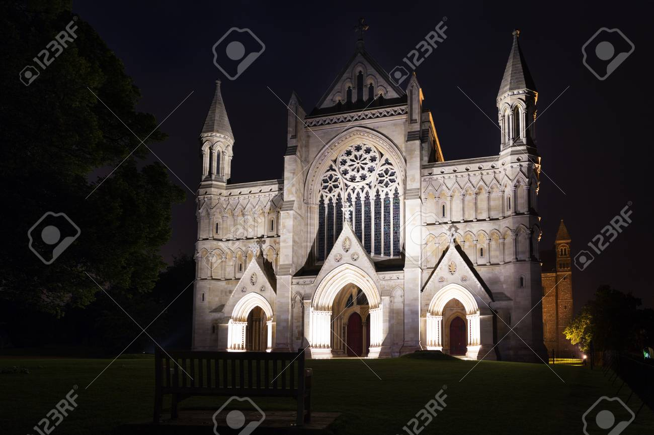 Popular tourist St Albans abbey church in night lights illumination