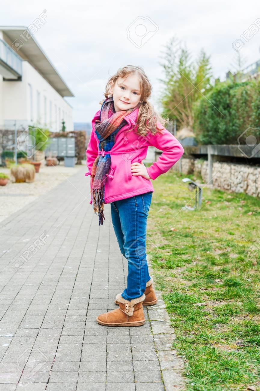 Cute Little Girl, Wearing Jeans, Boots