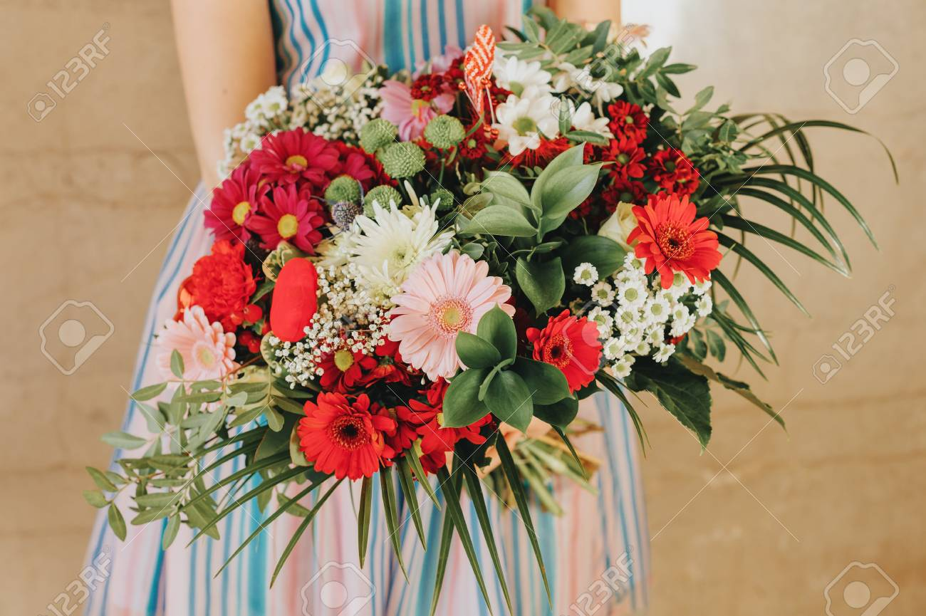 Big Flower Bouquet Holding By A Girl Stock Photo Picture And