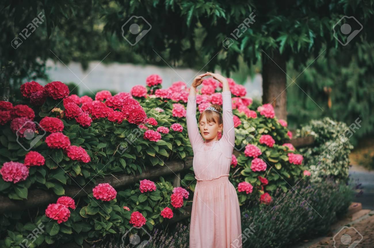 b94e1c778 Little Ballerina Girl Dancing In Hydrangea Garden