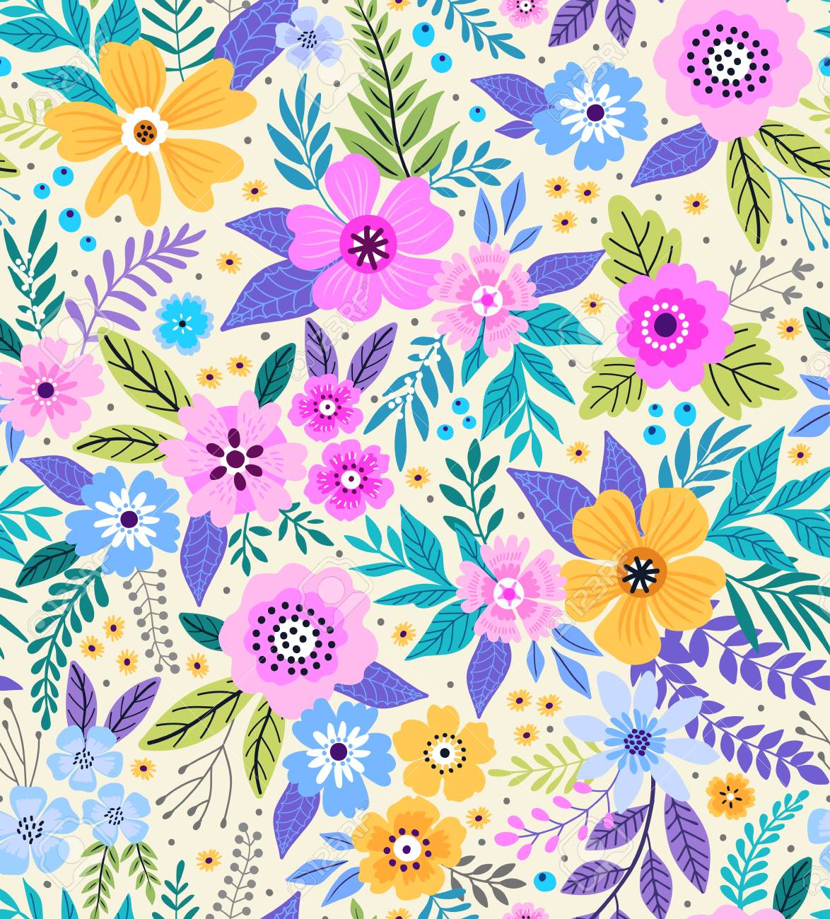 Amazing Seamless Floral Pattern With Bright Colorful Flowers