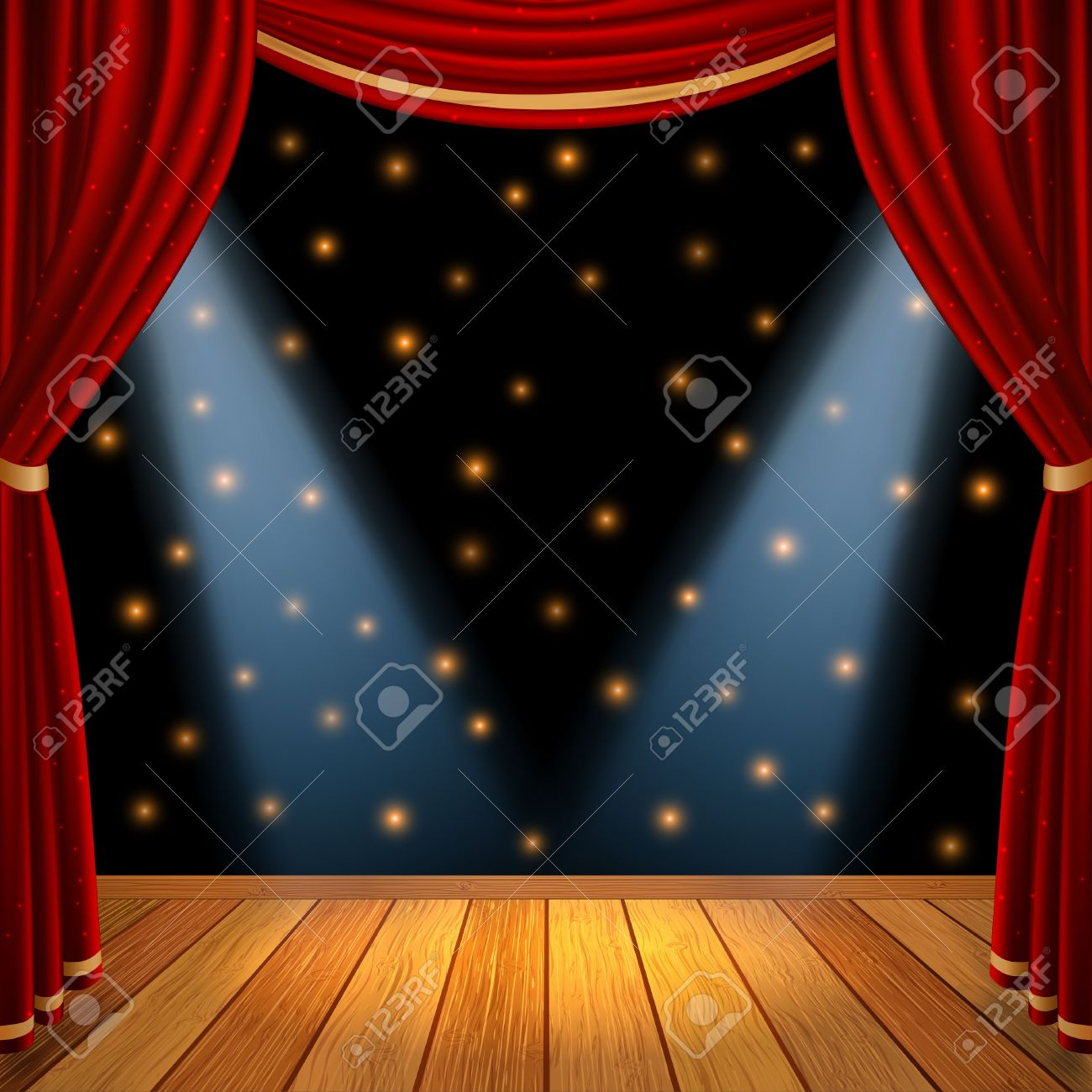 Red curtains with spotlight - Empty Theatrical Scene Stage With Red Curtains Drapes And Brown Wooden Floor With Dramatic Spotlight In