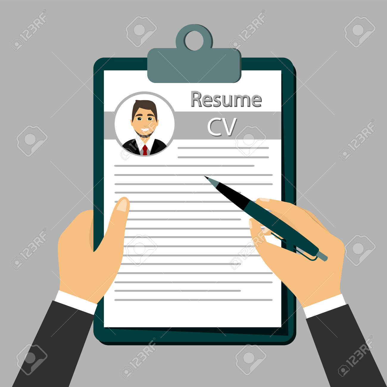 Check Resume, The concept of resume in the hands. - 134182403