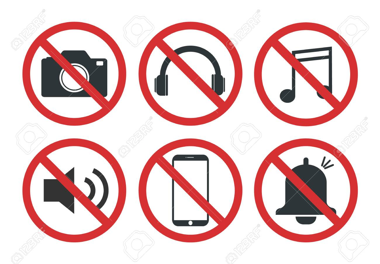 Set of prohibited signs, Do not take pictures - vector illustration - 134268328