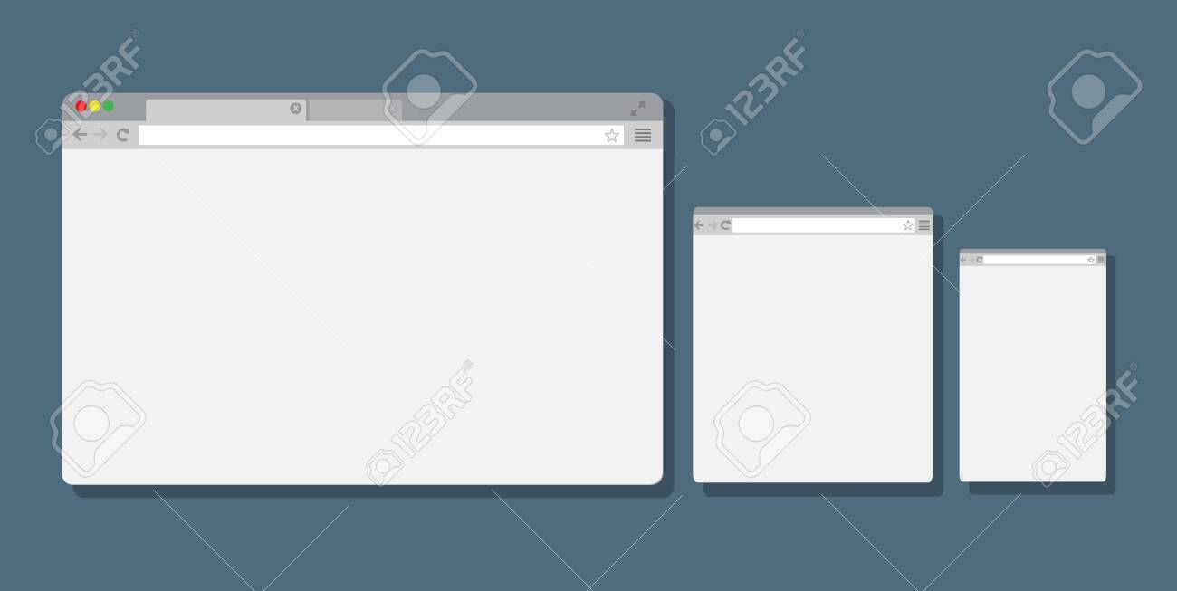 Set of Flat blank browser windows for different devices, Computer, tablet, phone - Vector illustration. - 134268716