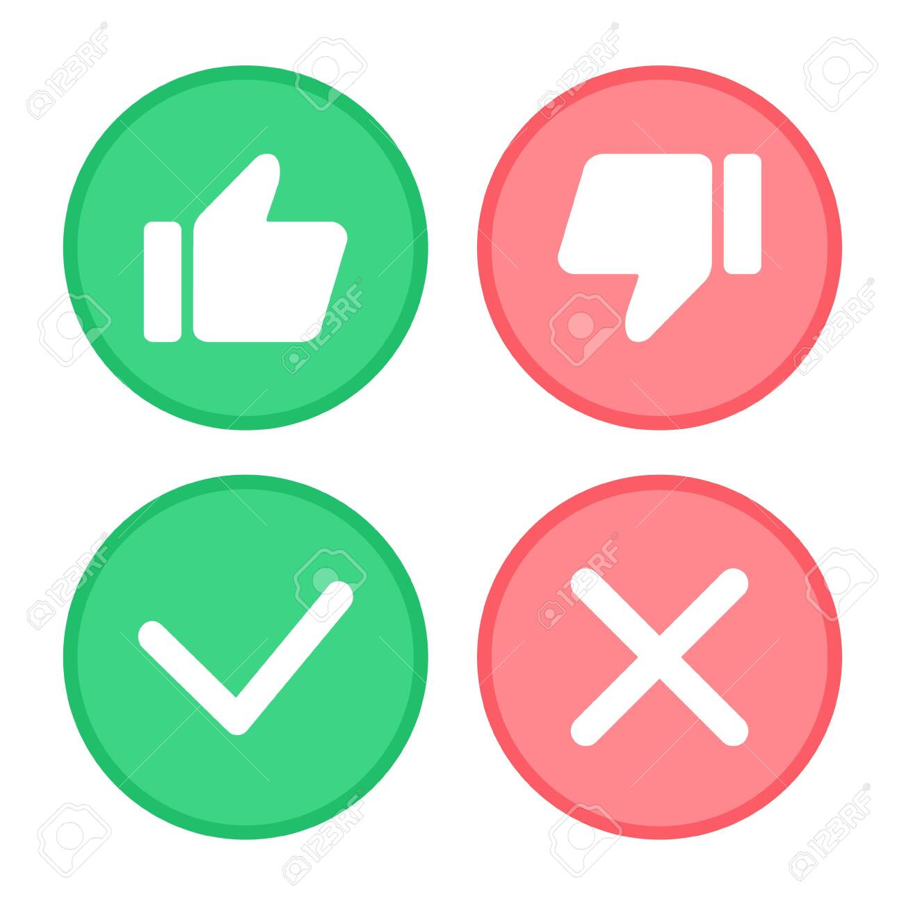 Thumb up and thumb down, Green tick and red cross. - 134269029