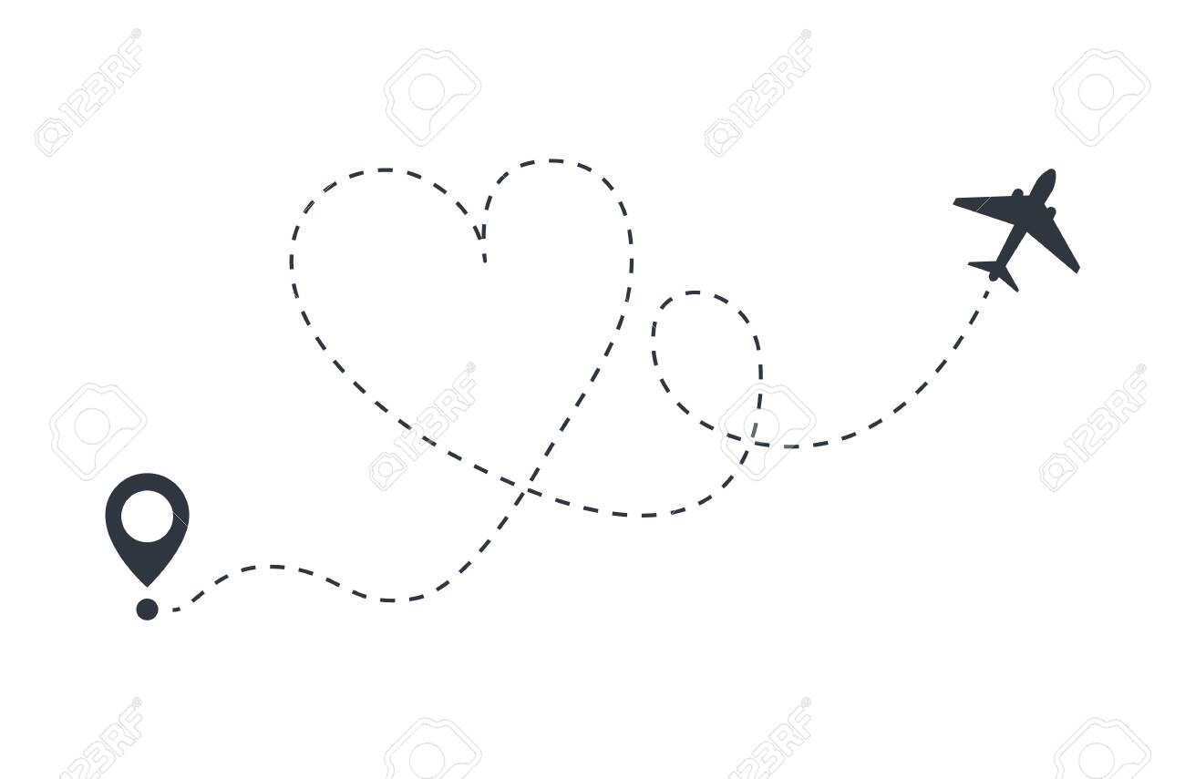 Love Plane Route From Departure To Arrival Royalty Free Cliparts Vectors And Stock Illustration Image 135523988