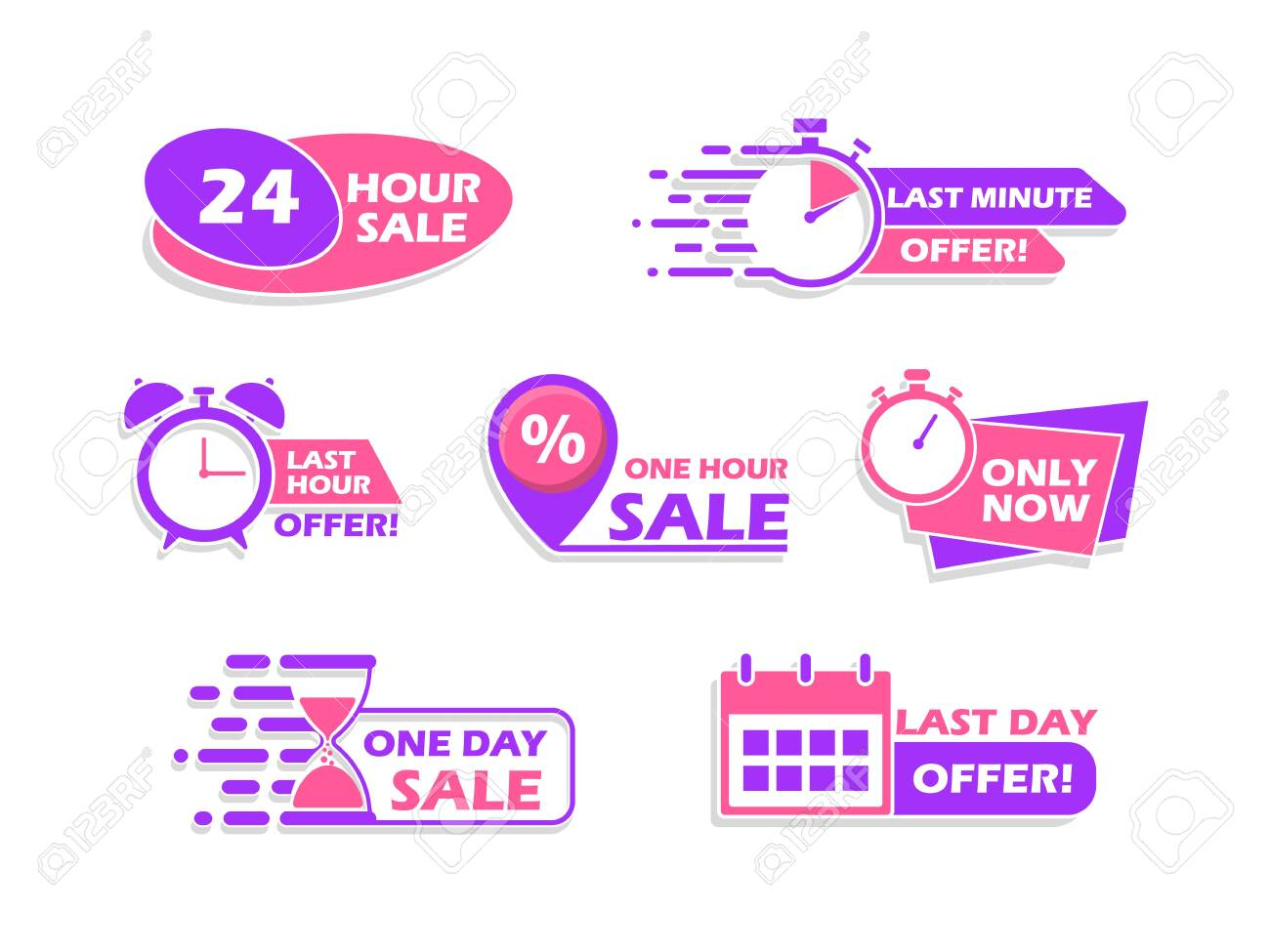 Set of advertising banners, countdown time icons, vector illustration. - 146832471