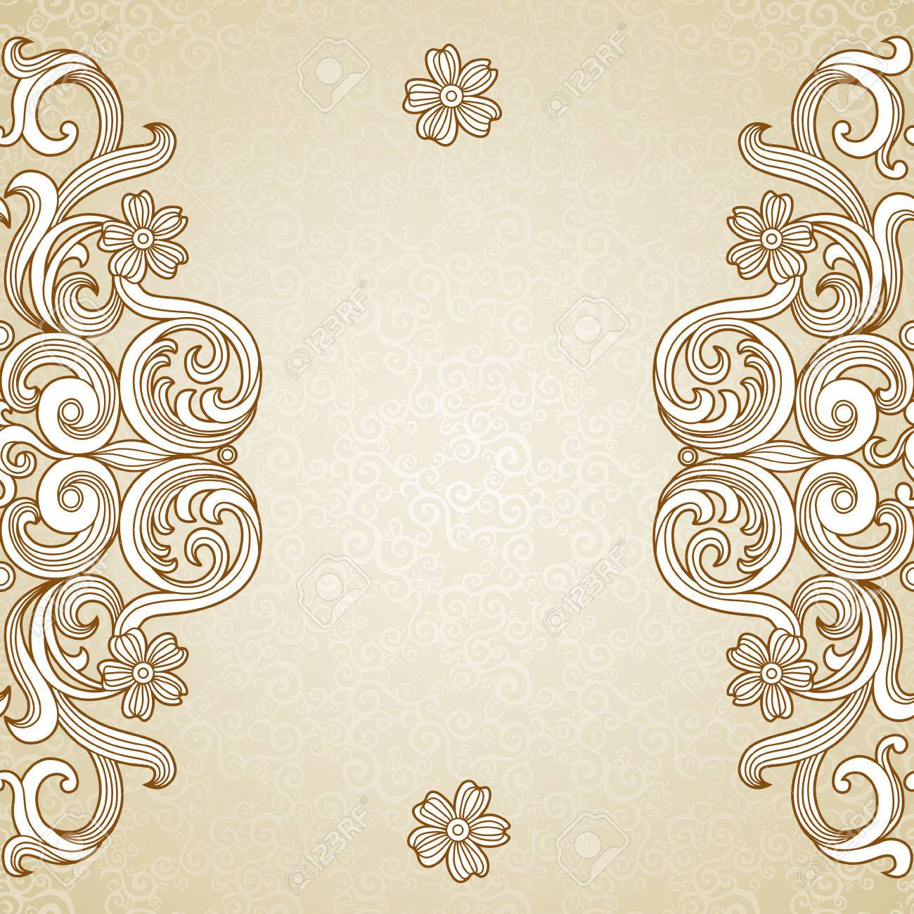 Vector Lace Card In East Style On Moroccan Seamless Background ...