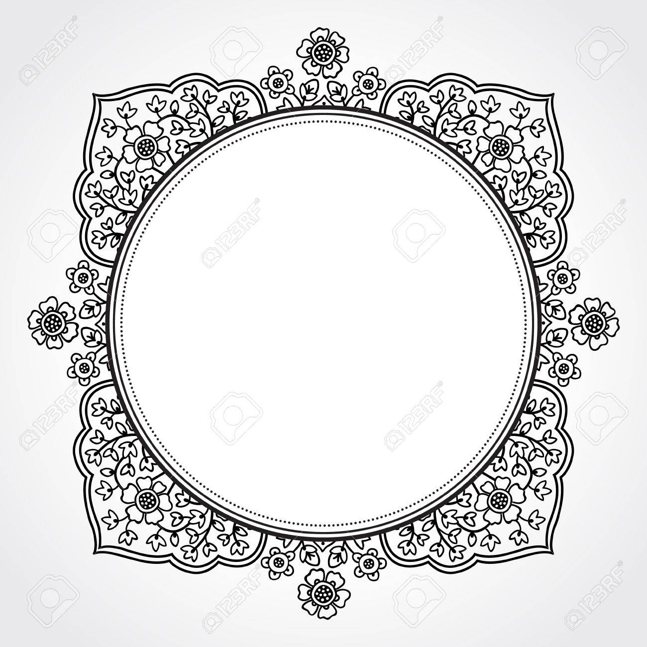 f03b206071a Vector - Vintage ornate frame with place for your text. Vector ornamental  framework. East floral decor. Save the date. Template frame design for  greeting ...