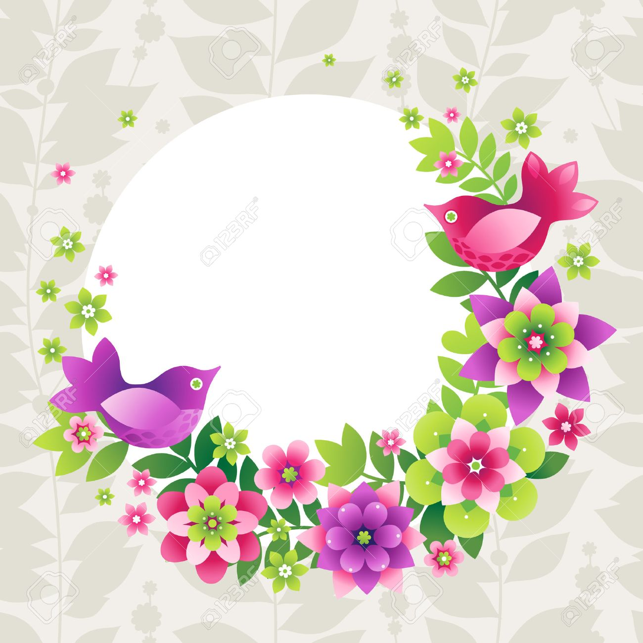 Bright Wreath With Colorful Flowers And Birds Place For Your