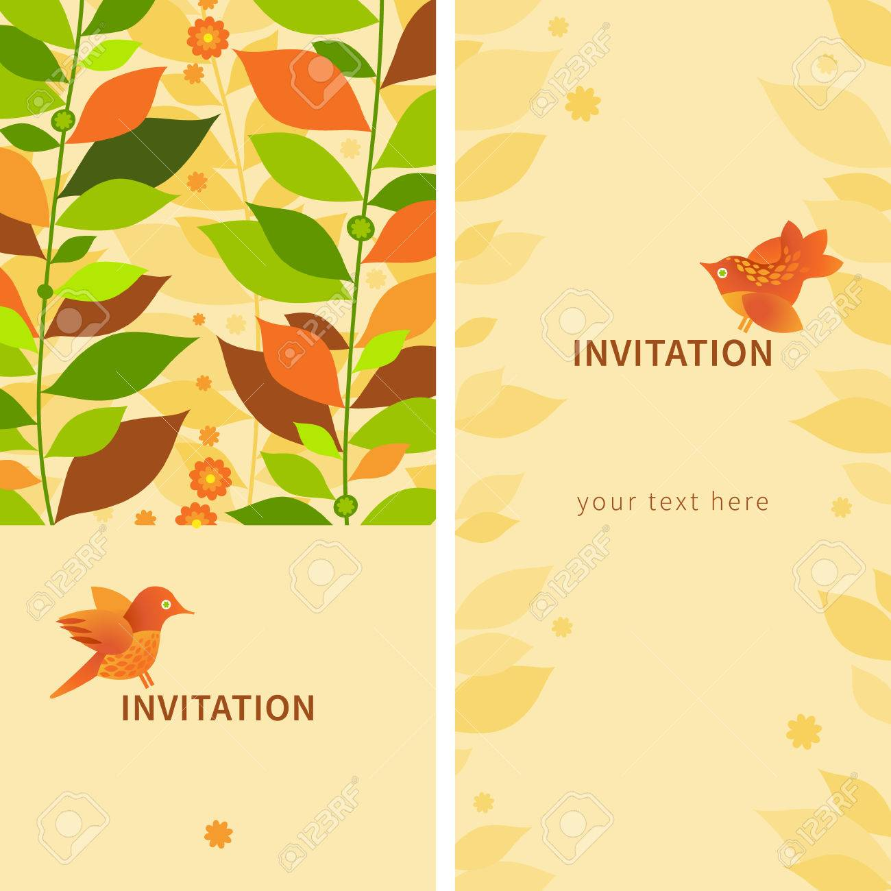 Leaf greeting cards gallery greeting card examples vintage greeting cards with leaves and birds template frame vintage greeting cards with leaves and birds kristyandbryce Choice Image