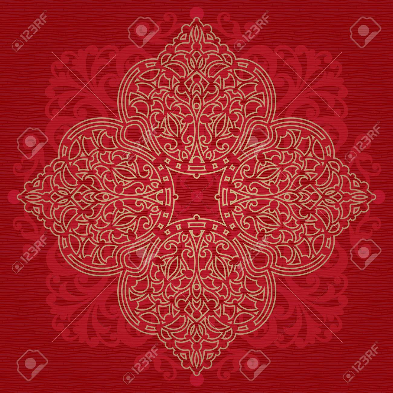 Vintage background ornate baroque pattern vector illustration stock - Vintage Ornate Pattern On Red Background Floral Baroque Ornament In Victorian Style Traditional Ornament
