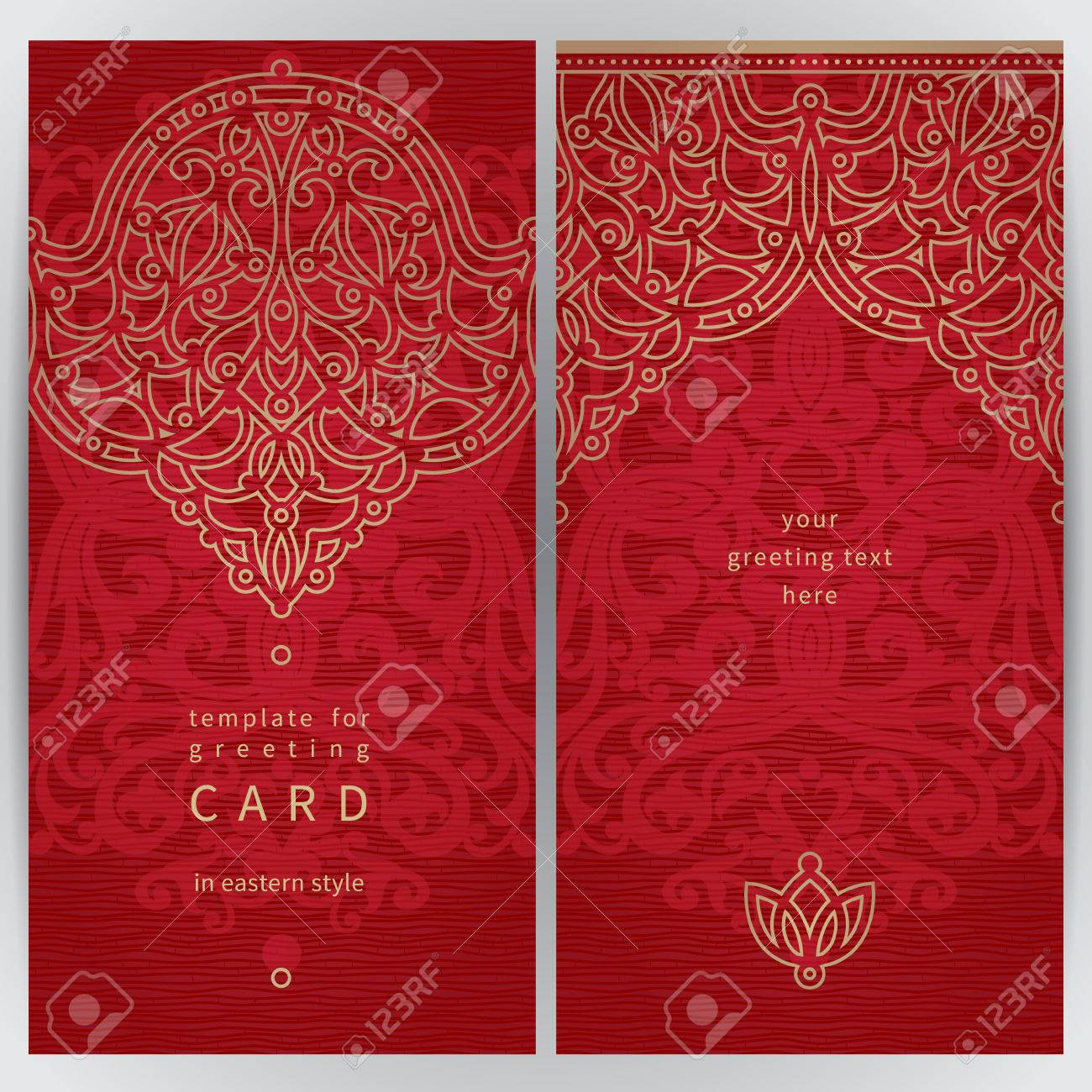 Vintage Ornate Cards In Oriental Style. Golden Eastern Floral ...