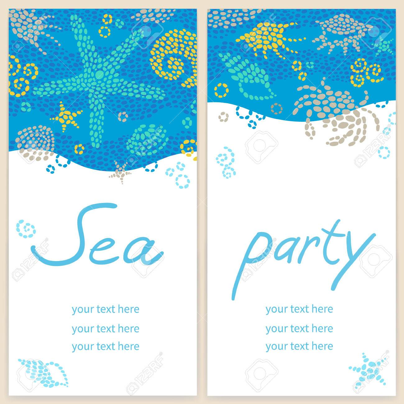 Bright Invitation Cards With Sea Elements. Marine Life Vector ...