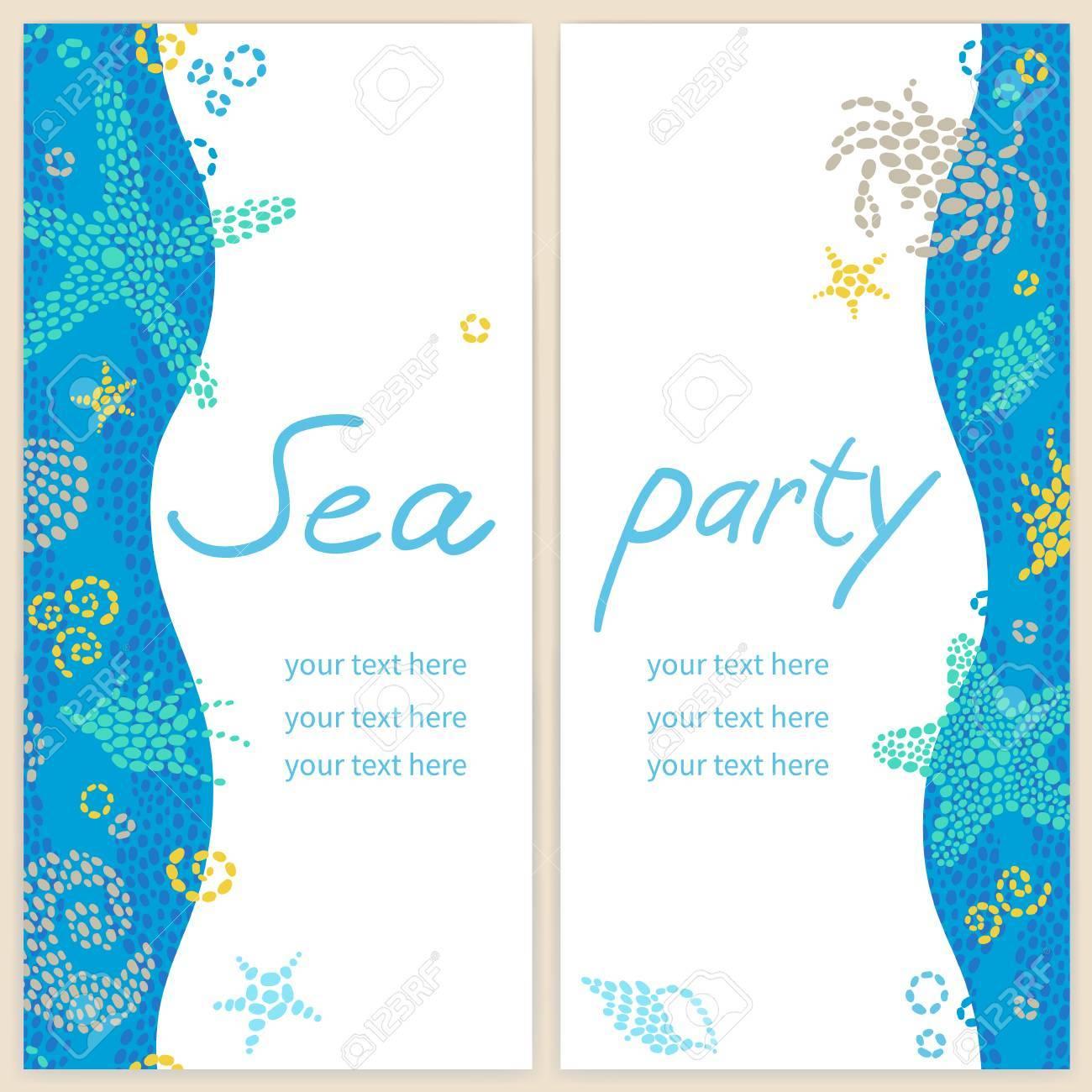 Tarjetas De Invitación Brillantes Con Elementos Marinos Fondo Marino Vector Vida Modelo Del Mar Con Peces Y Las Olas Lugar Para El Texto Diseño