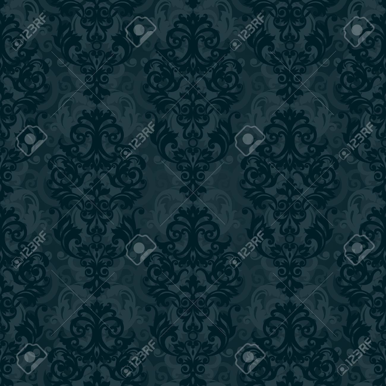 Vector Seamless Pattern With Swirls And Floral Motifs In Retro