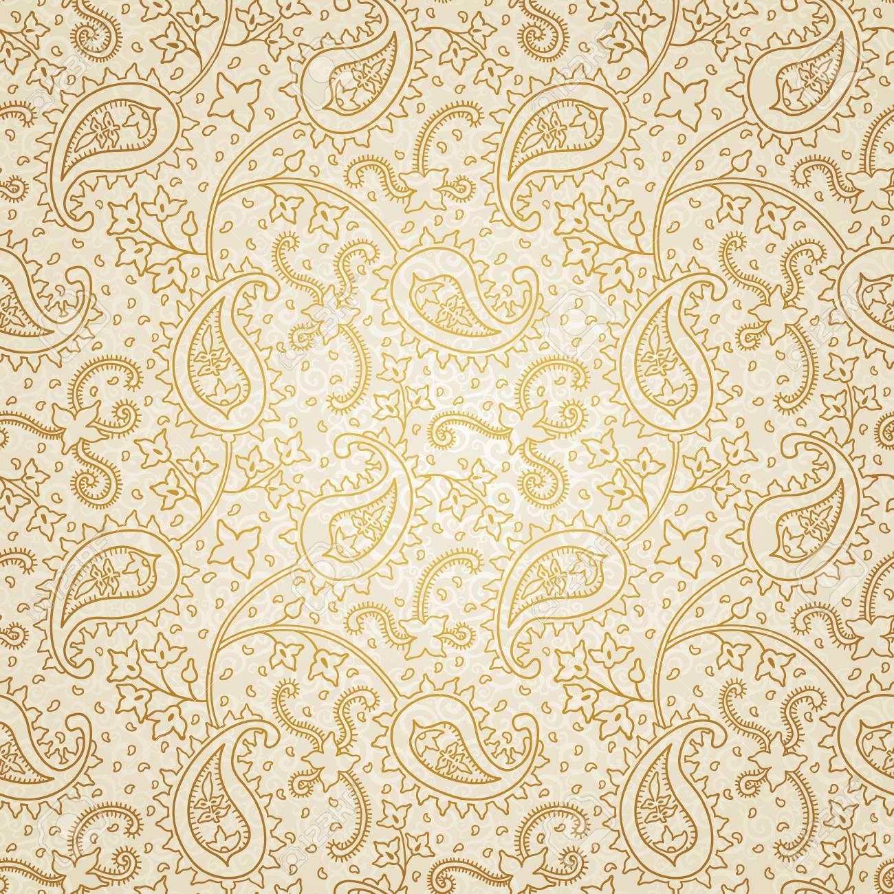 Adornado Textura Floral Transparente. Interminable Patrón Oro. Fondo ...
