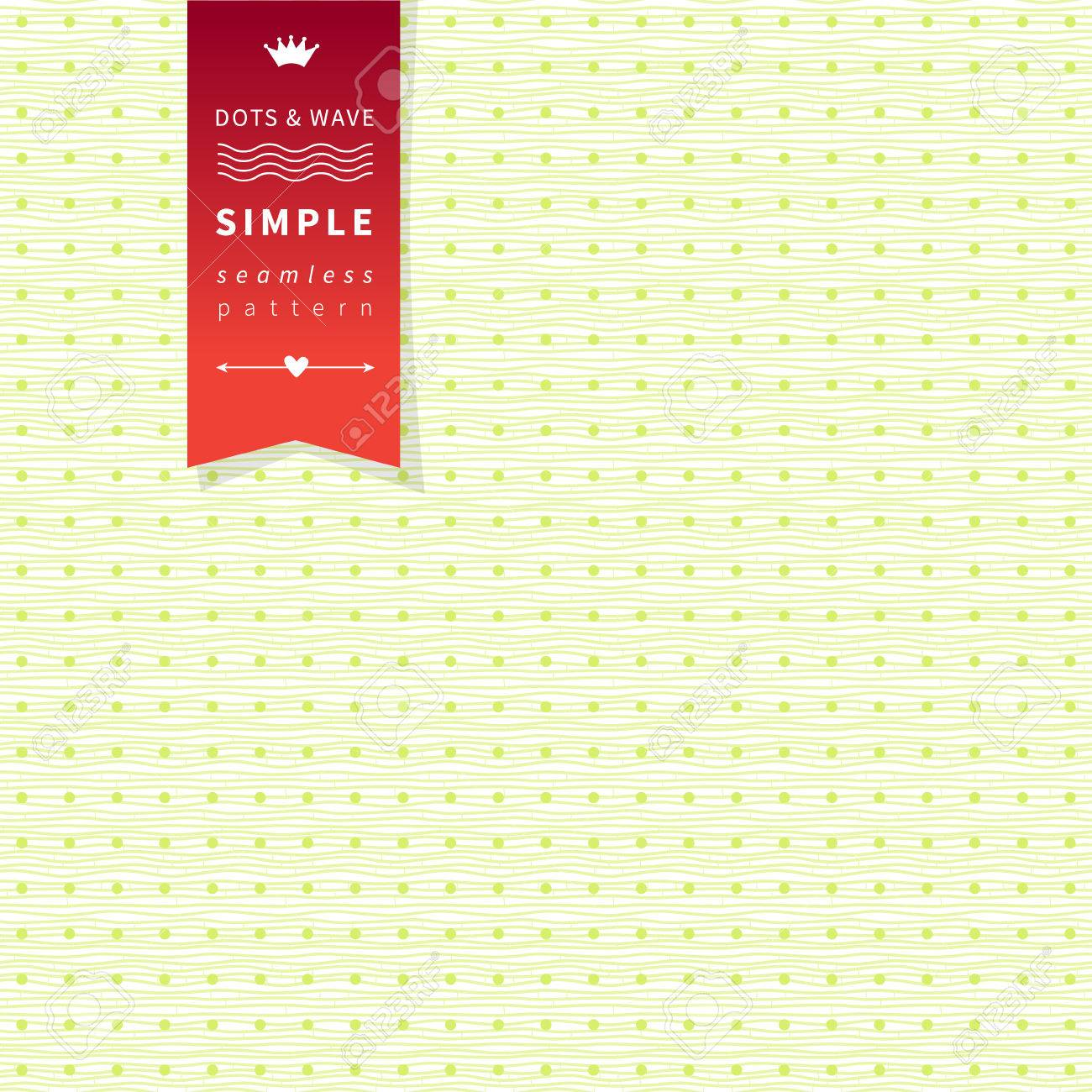Seamless Polka Dot And Wave Background With Hipster Label Can