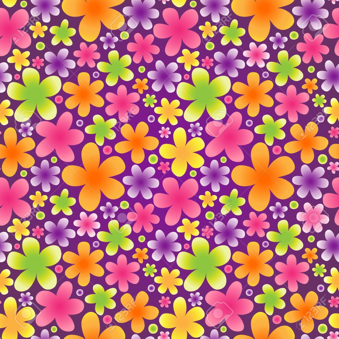 Brillante Patrón Transparente De Flores Sobre Fondo Violeta. Vector ...