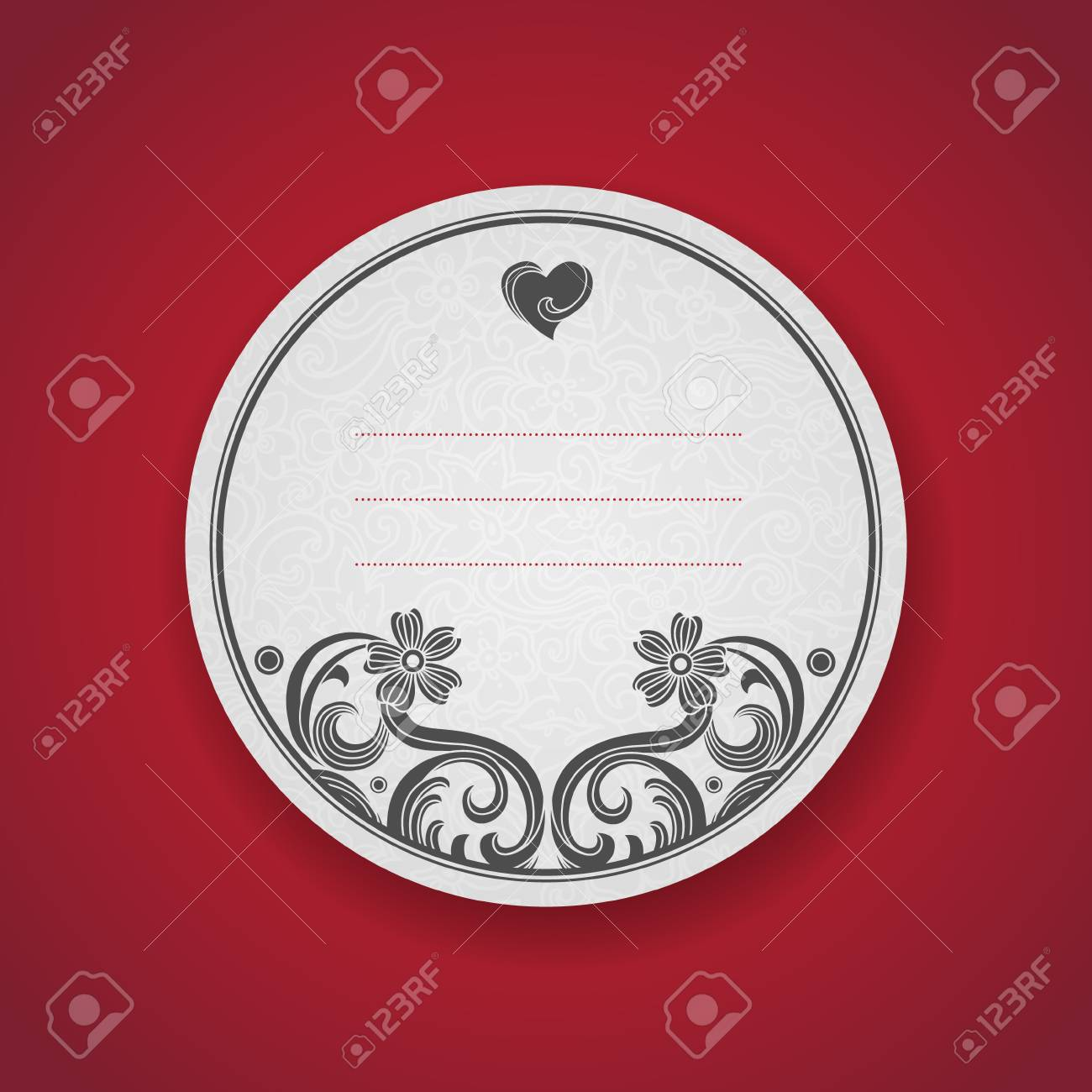 Card With Black Curls On Scroll Work East Style Background. Place ...