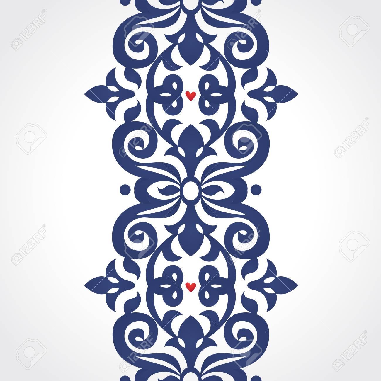 Vector Nahtlose Grenze Im Viktorianischen Stil. Ornate Element Für ...