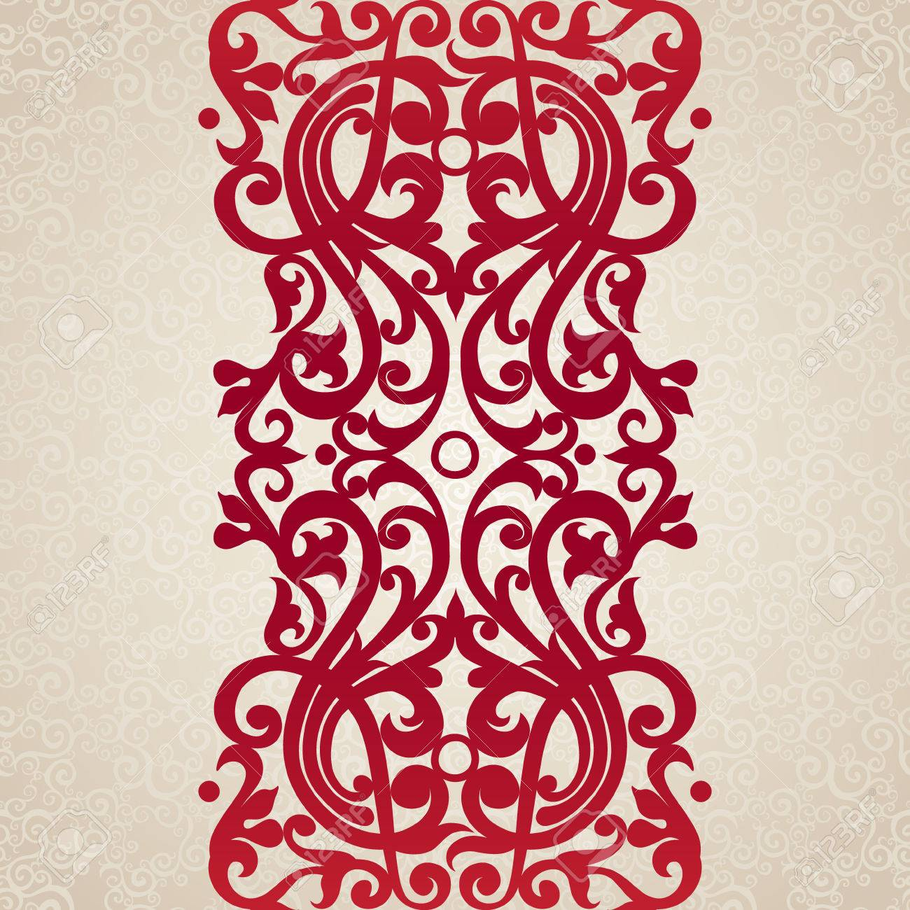 Vector Seamless Border In Victorian Style. Element For Design ...