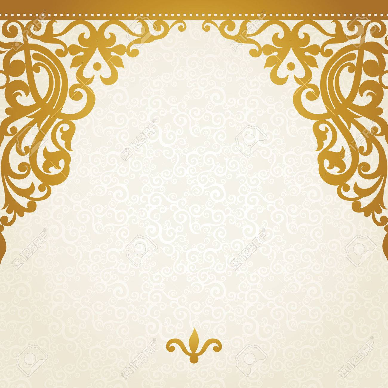 Vector seamless border in Victorian style. Element for design. Place for your text. It can be used for decorating of wedding invitations, greeting cards, decoration for bags and clothes. - 34319649