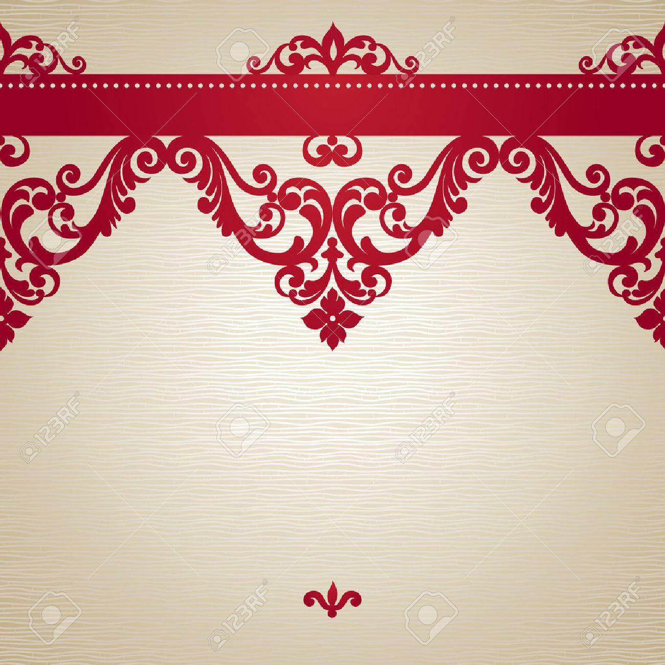 Vector Sin Frontera En Estilo Victoriano Elemento Para El Diseño Lugar Para El Texto Puede Ser Utilizado Para La Decoración De Las Invitaciones De