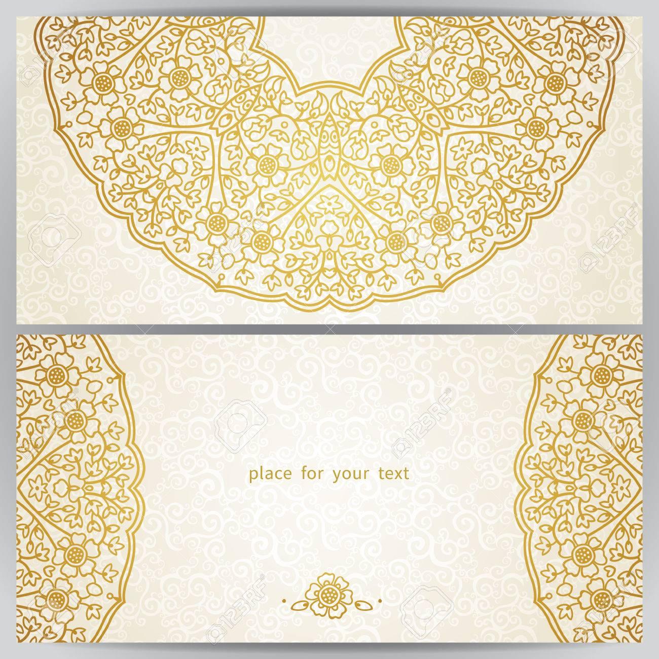 banque dimages cartes ornes vintage dans le style oriental or dcoration florale orientale cadre modle pour carte de voeux et invitation de mariage - Carte D Invitation Mariage Oriental