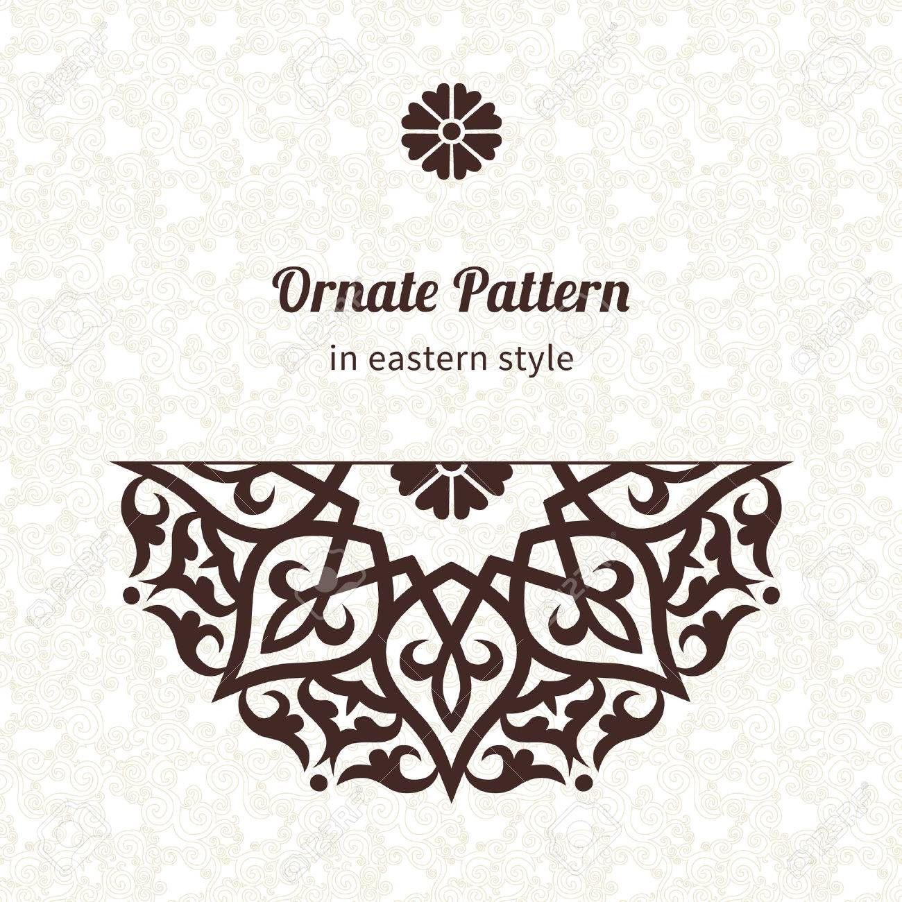 Vector lace pattern in Eastern style on scroll work background. Ornate element for design. Place for text. Ornamental pattern for wedding invitations, greeting cards. Traditional outline decor. - 35239911