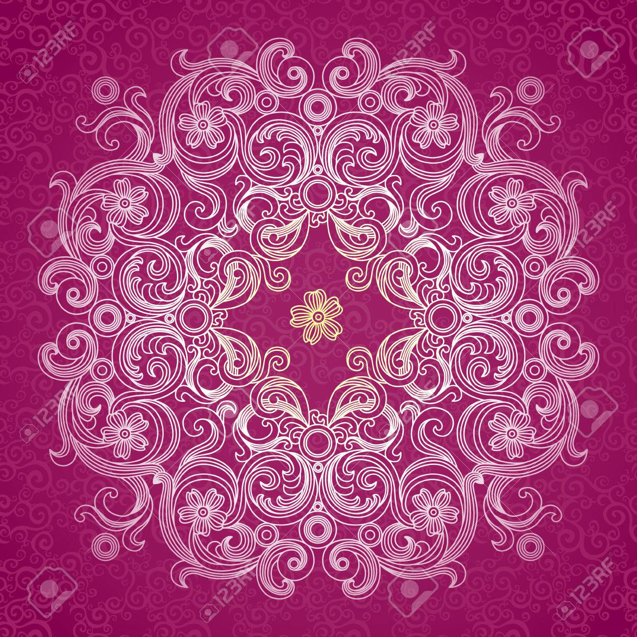 Abstract vector circle background lace pattern design white abstract vector circle background lace pattern design white ornament on purple scroll background junglespirit Gallery