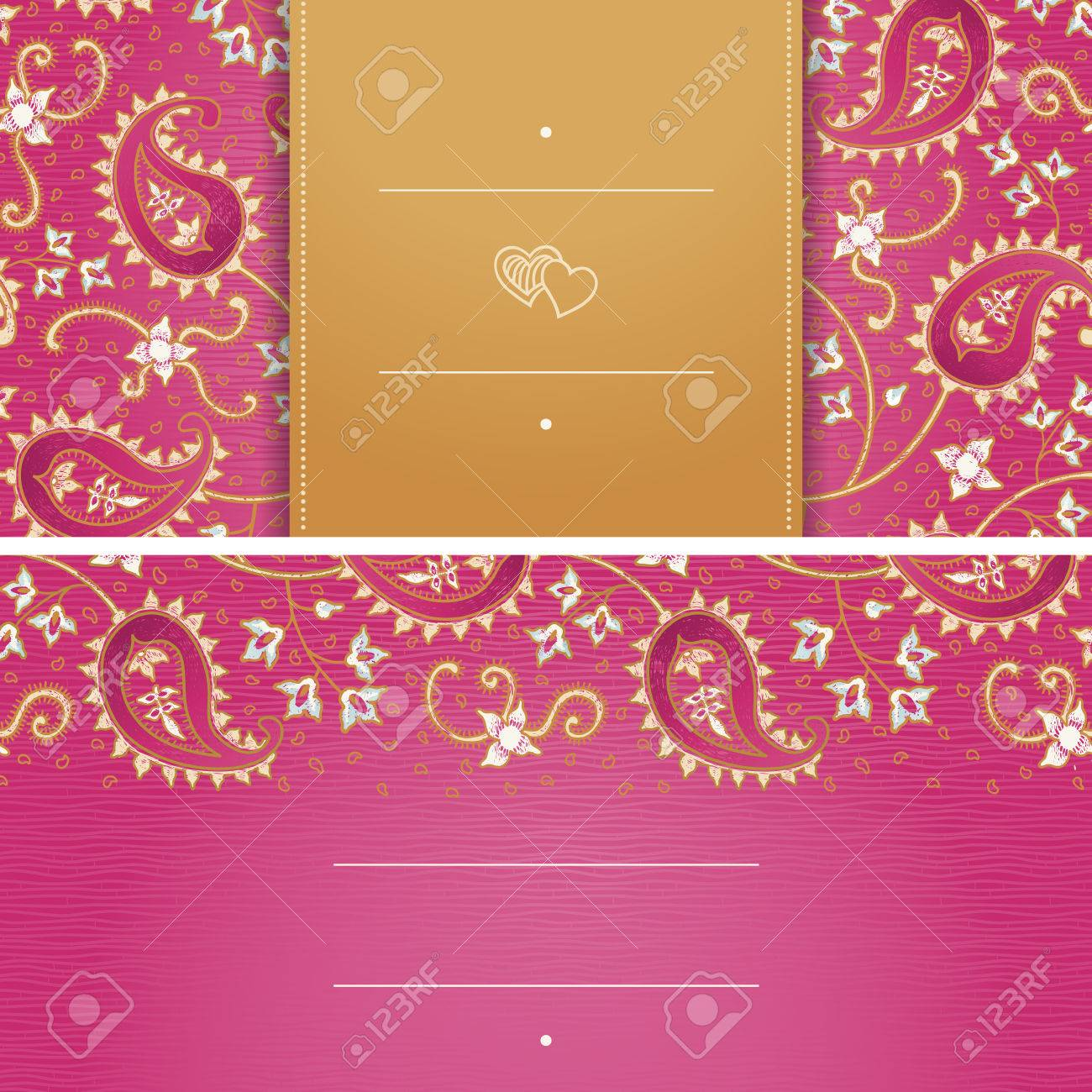 Vintage Greeting Cards With Swirls And Floral Motifs In East Style
