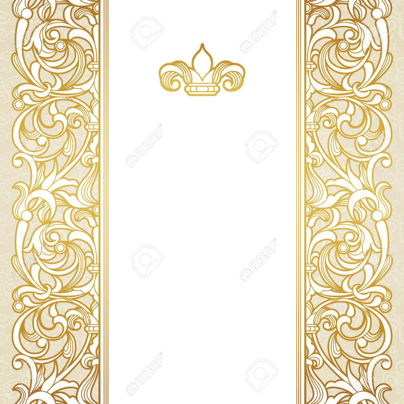 Vector Floral Border In Victorian Style Ornate Element For Design