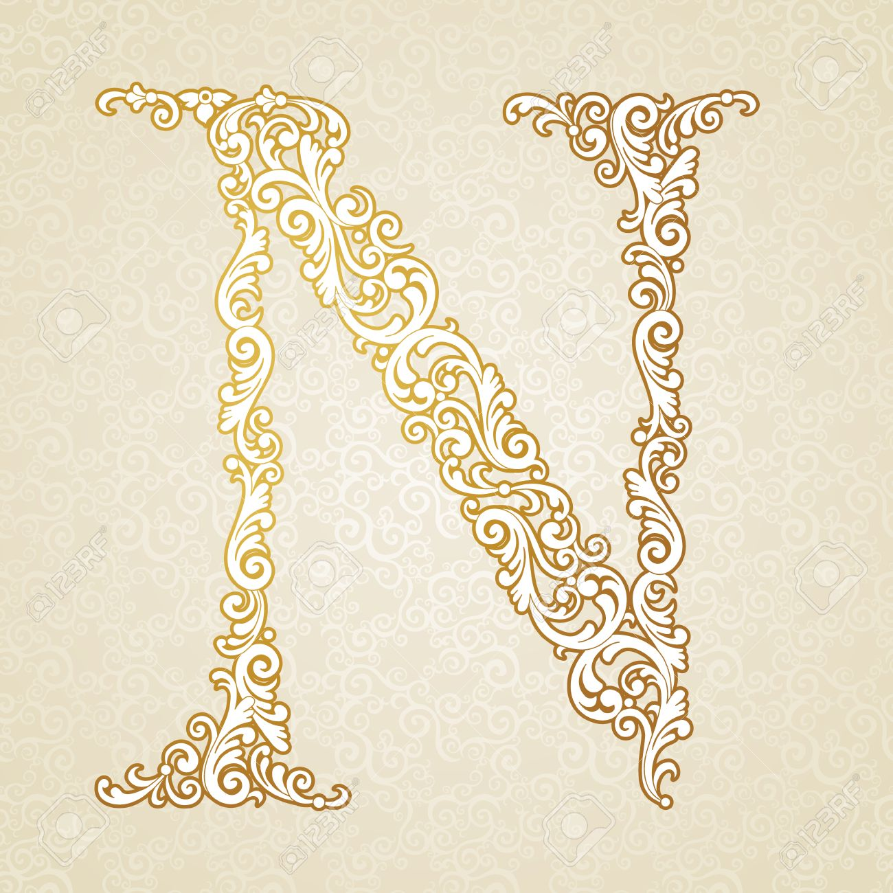 Gold Font Type Letter N Uppercase Vector Baroque Element Of