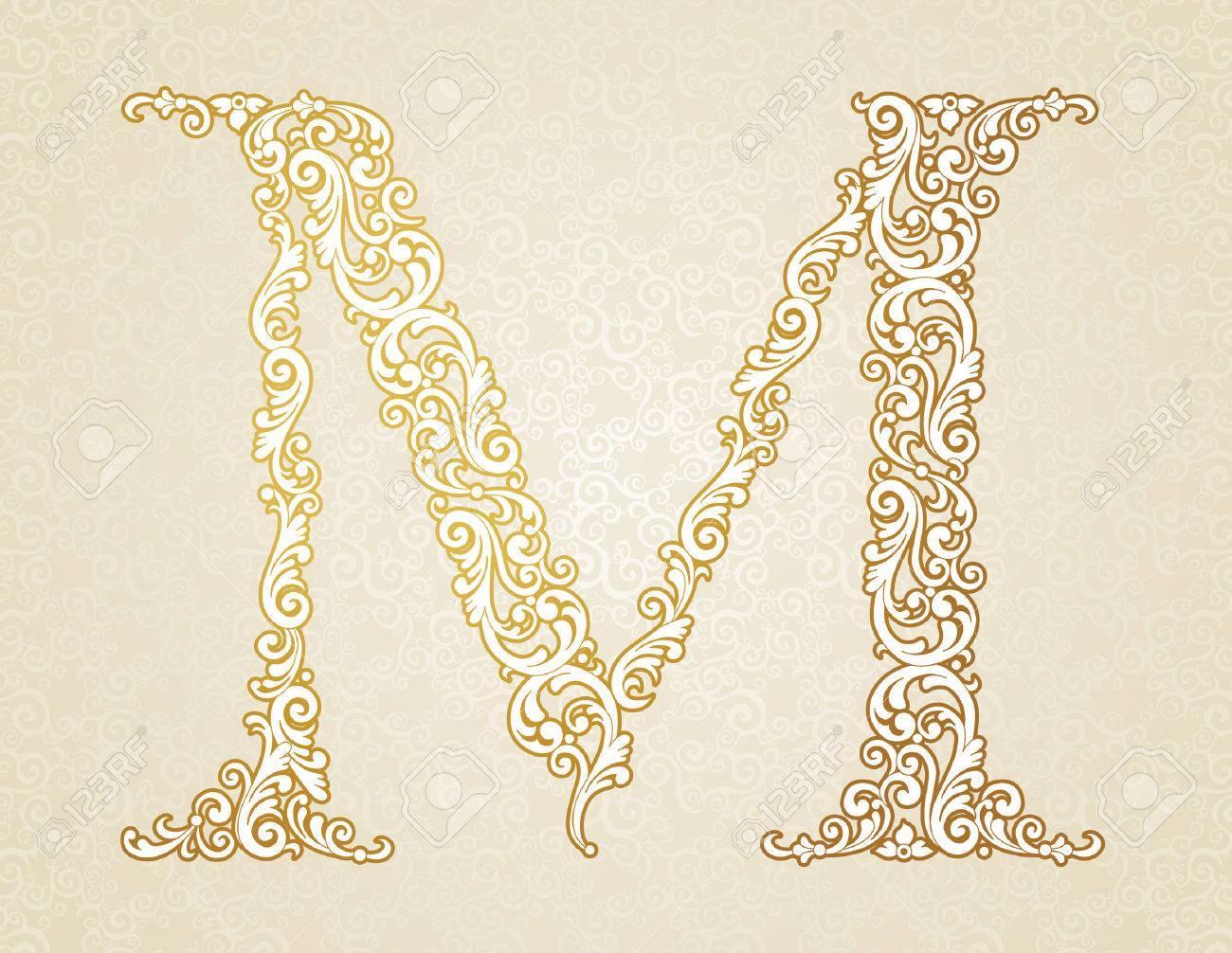 6d5abaa7570da Gold Font Type Letter M