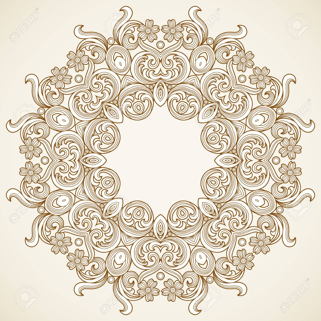 Filigree Frame In Victorian Style In Shape Of A Circle Royalty Free ...