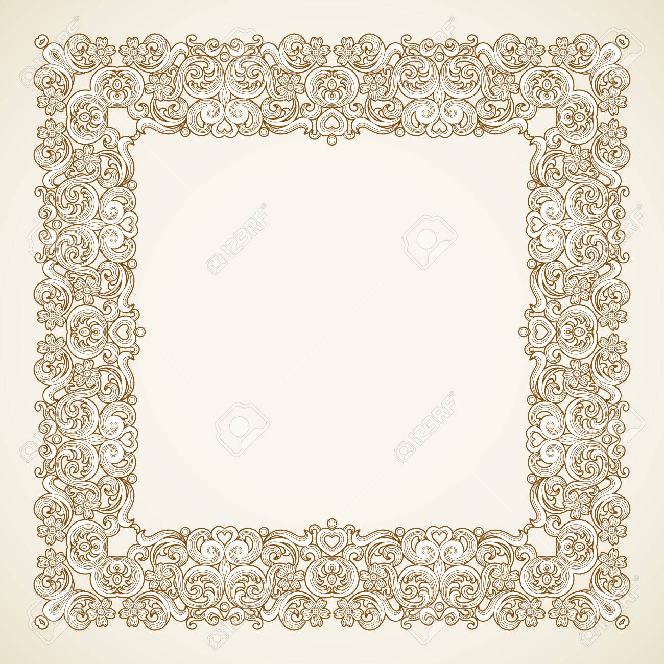 Filigree Frame In Victorian Style In Shape Of A Square Royalty Free ...