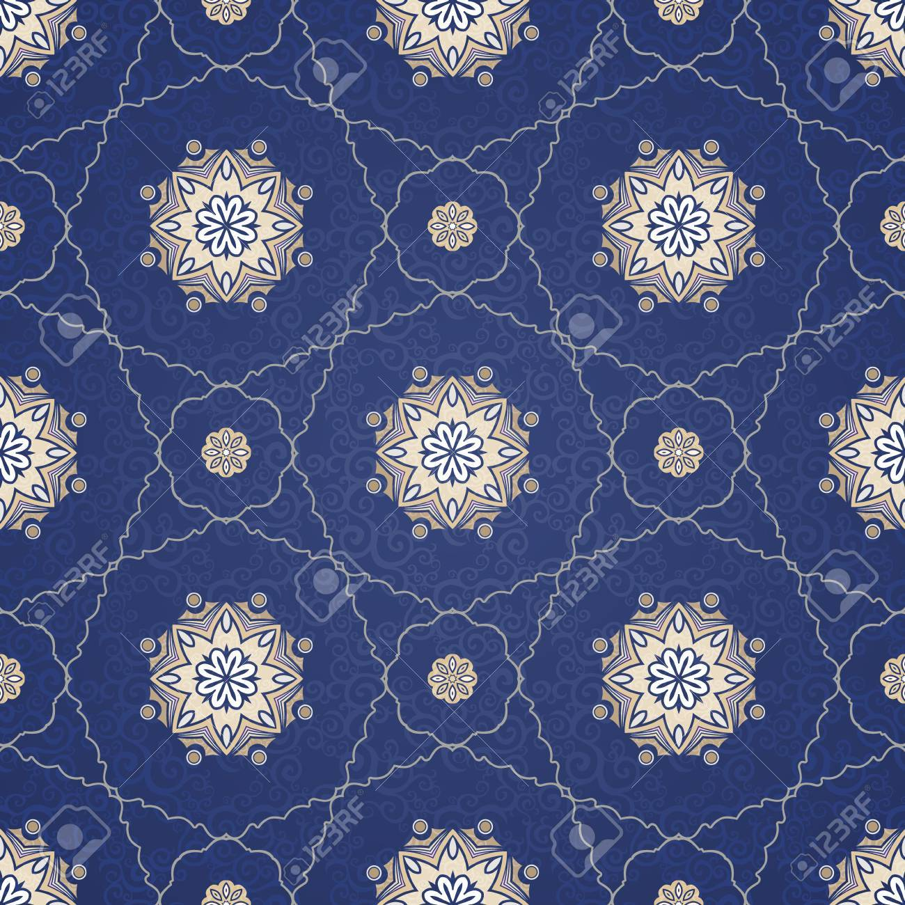 Vintage Element For Design In Eastern Style Ornamental Blue Tracery Ornate Floral Decor Wallpaper Endless Texture Delicate Pattern Fill