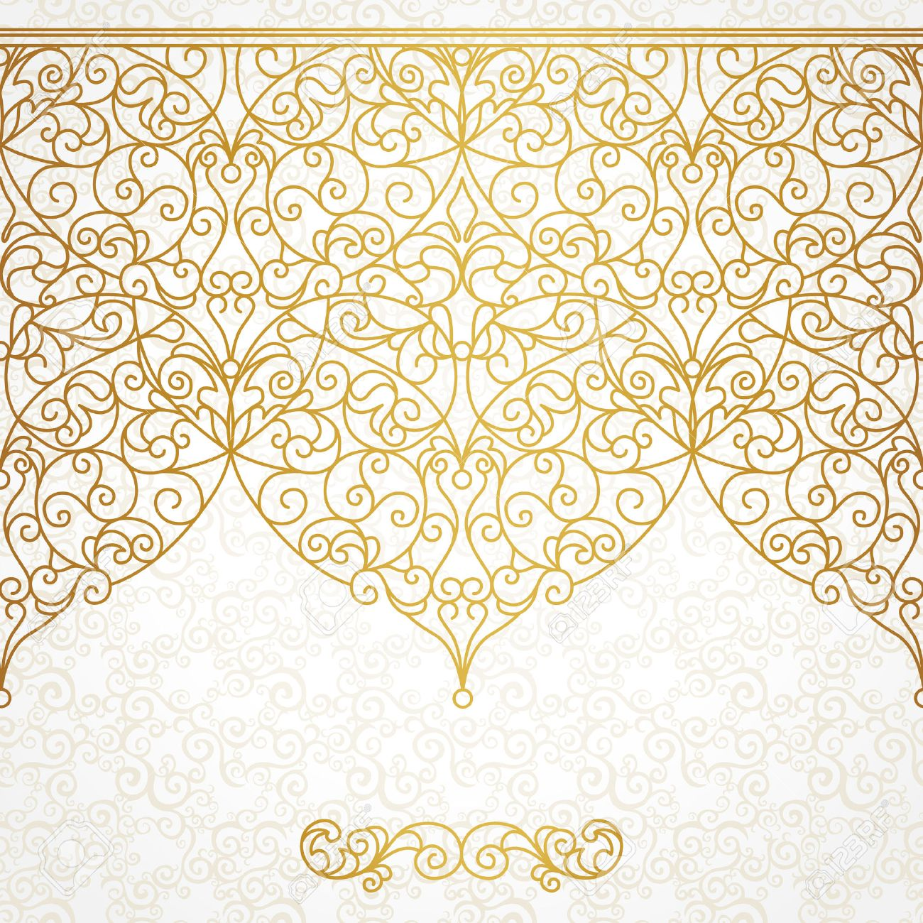 Vector ornate seamless border in Eastern style. Line art element for design, place for text. Ornamental vintage frame for wedding invitations and greeting cards. Traditional gold decor. - 40401095