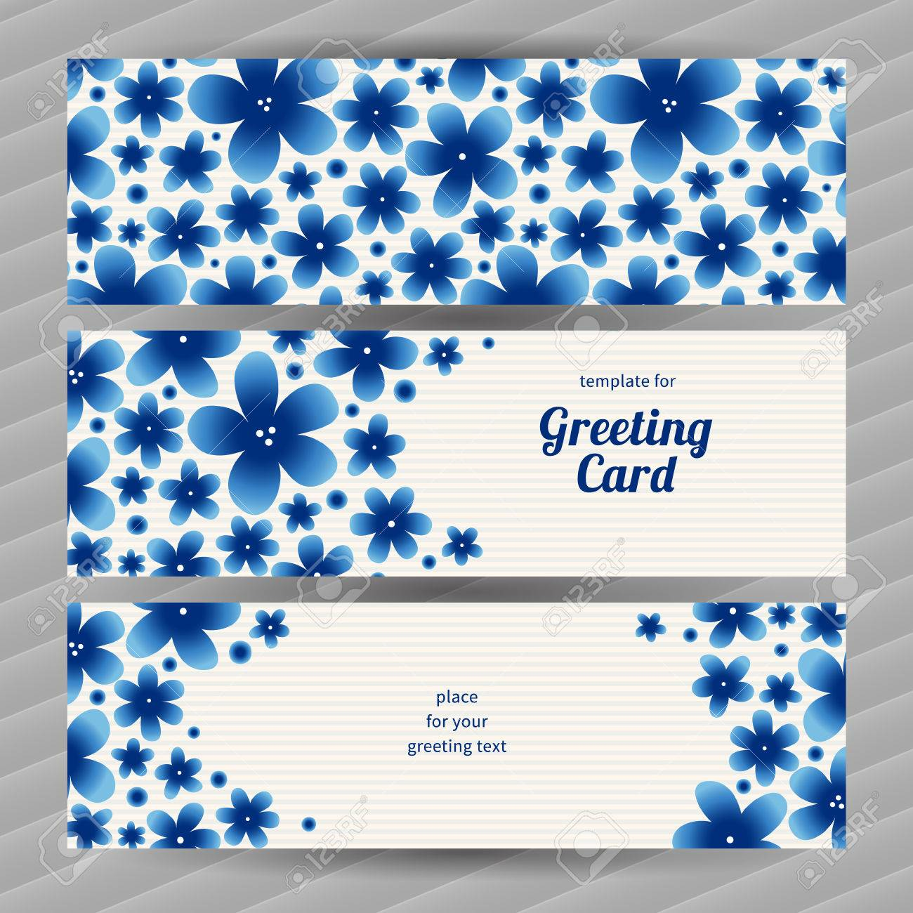 Bright Floral Card With Simple Flowers Blue Vintage Illustration Decorative Element For Design