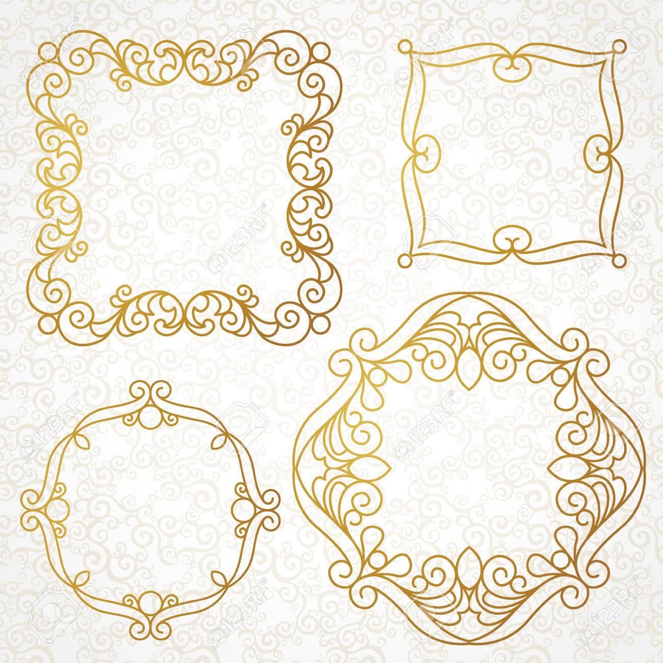 abbastanza Vector Set Di Cornici Decorative Linea D'arte Per Modello Di  KF12