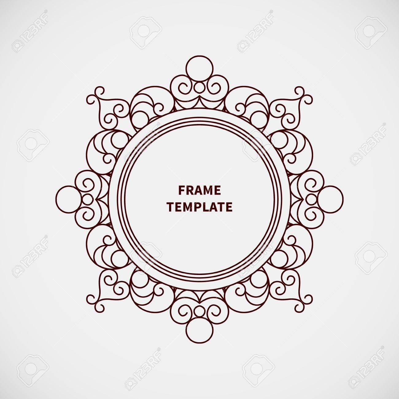 40403207 Vector decorative line art frame for design template Elegant element for logo design place for text Stock Vector vector decorative line art frame for design template elegant on frame outline template
