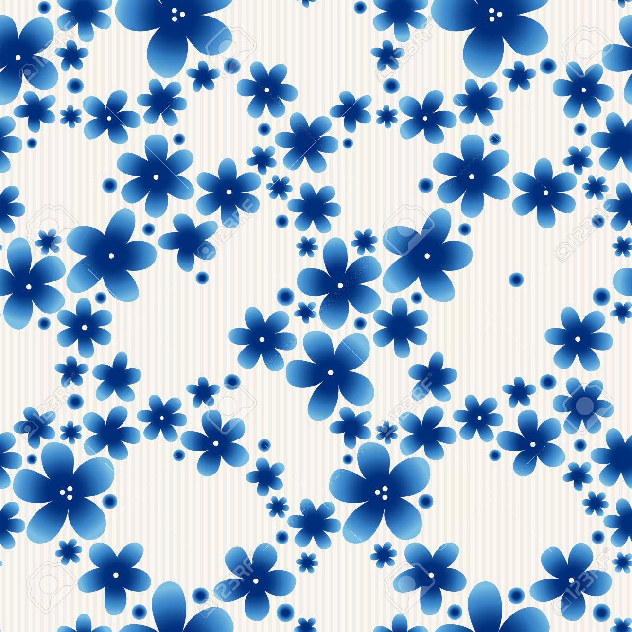 Blue Floral Seamless Pattern On Light Background Vector Vintage