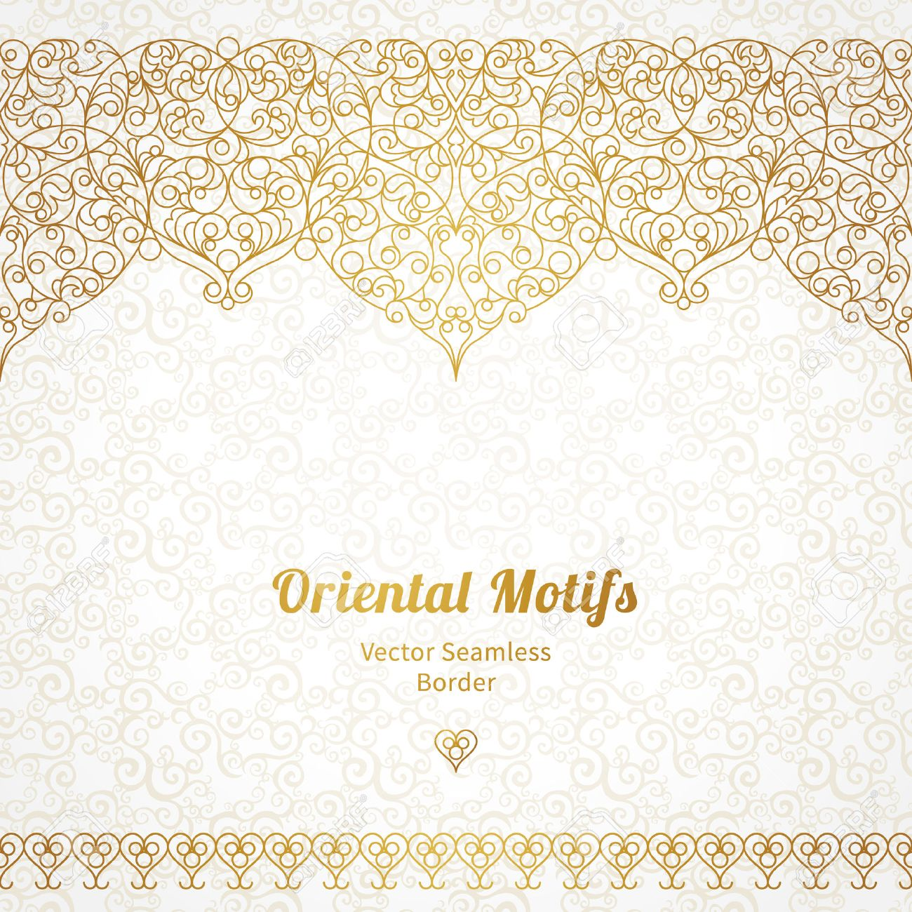 Vector ornate seamless border in Eastern style. Line art element for design, place for text. Ornamental vintage frame for wedding invitations and greeting cards. Traditional gold decor. - 41936241