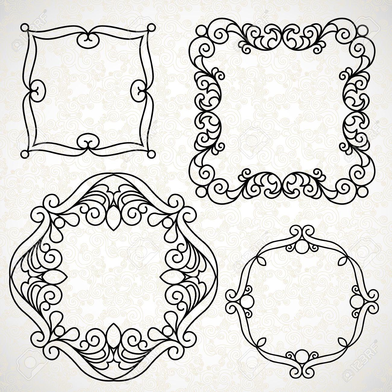 Vector Reihe Von Dekorativen Linie Kunst Rahmen Für Design-Vorlage ...